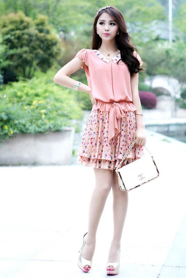 New 2014 Summer Dress Fashion Women Casual Dress Korean Fashion Chiffon Dress Was Thin Girl Doll