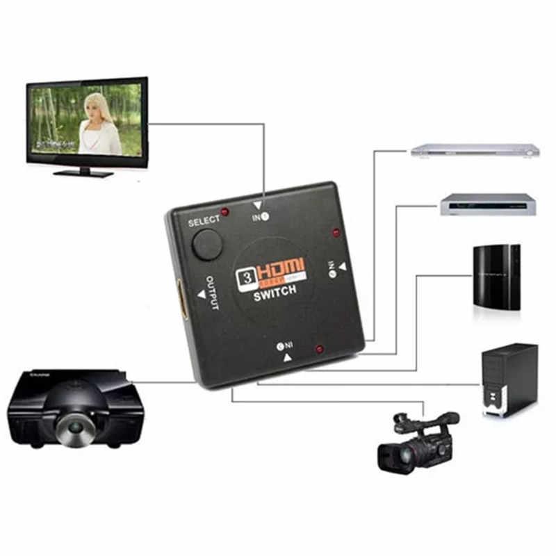 3 In 1 HDMI Beralih 1080 P HDMI Versi 1.4 HDMI Port 3 Port HDMI Splitter HDMI Switch Switcher untuk HDTV Vedio Proyektor PS3
