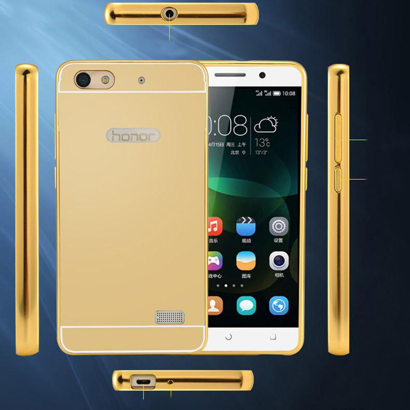 US $4 99 |Gold Aluminum Case For Huawei Honor 4C Phone 4G LTE Coque Mirror  Metal Aluminum Frame + Acrylic Back Cover For Huawei Honor 4C on