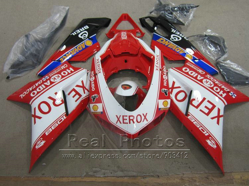 Aftermarket body parts fairing kit for Ducati 848 1098 1198 07 08 09 10 11 red sticker white fairings 848 1198 2007-2011 AS35