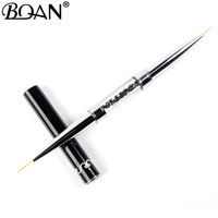 BQAN Black Double Head Crystal Handle 9mm&11mm Drawing Brush Liner Brush Painting Pen Gel Polish Crystal Nail Art Manicure Tools