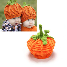 2016 New Infant Handmade Halloween Orange Pumpkin Crochet Knit Hat Baby Toddler Fancy Dress Accessory Costume Party Props