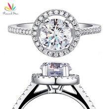 Павлин звезда Твердые 925 пробы серебро свадебные обещания обручение Halo Кольцо ювелирные изделия 1,25 карат CFR8003
