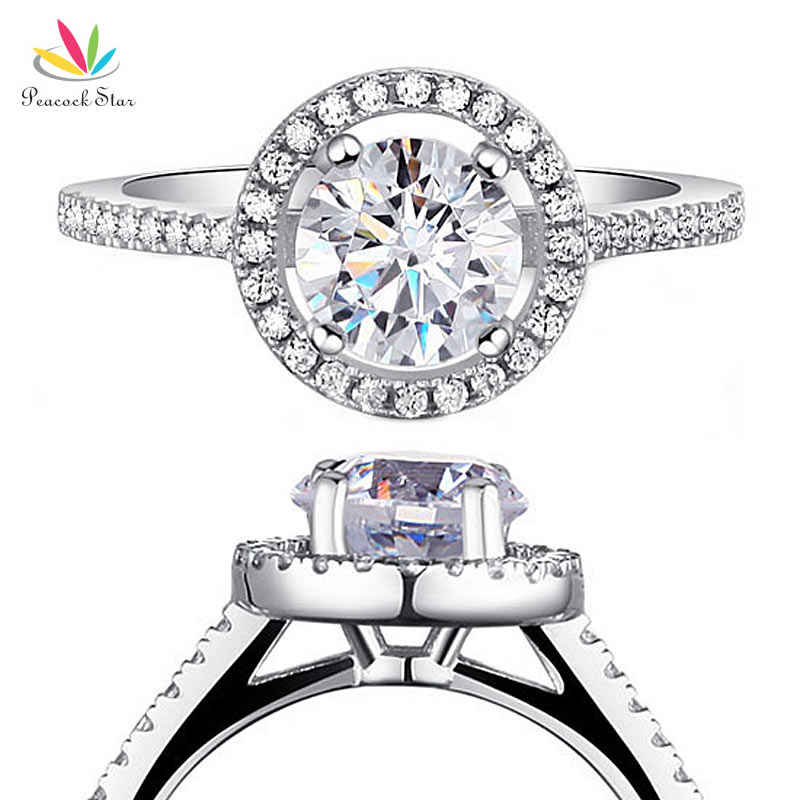 Peacock Star Solid 925 Sterling Silver Wedding Promise Engagement Halo Ring Jewelry 1.25 Carat CFR8003