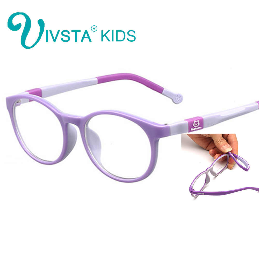 IVSTA 6008 TR90 Plastic titanium kids frame eyeglasses children glasses Silicone frame rubber cat animal Safe Unbreaken myopia
