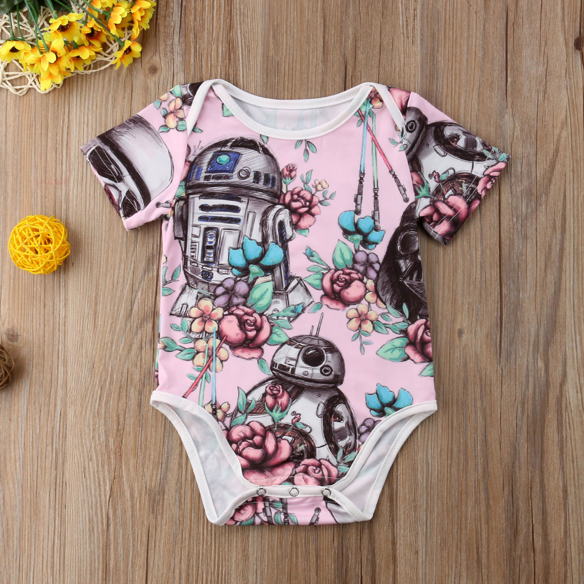 US Newborn Baby Girls Flower Clothes Short Sleeve Romper Stocking Cotton Outfit