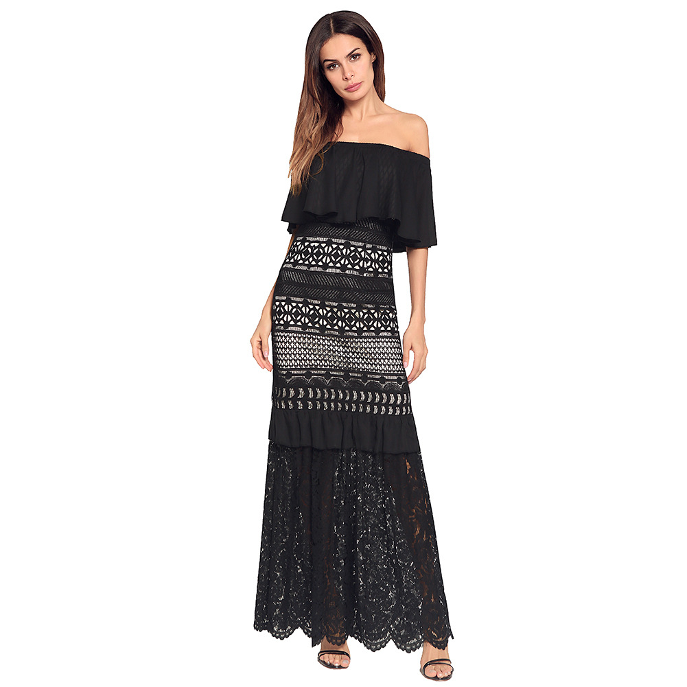 2018 New arrival quality strapless dress cloak sleeves lace dress