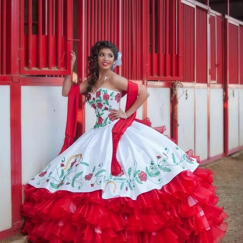 Red And White Lace Prom Dress: 2019 New White And Red Tiered Draped Embroidery