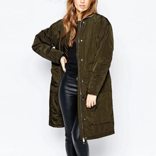 Autumn Winter Outercoat Womens Classic Long Jackets Ladies Vintage LongLine Padded Bomber Jacket Coat Tops Overwear