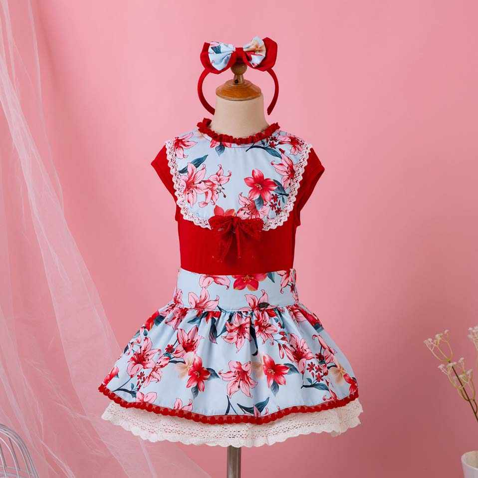 Pettigirl Fashion Red Christmas Party Girls Clothing Sets Vintage  Sleeveless Tops+Flower Skirt Lolita Kids 9f8f06df4911
