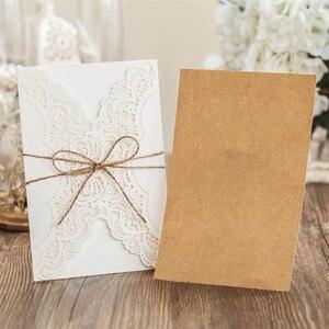 Image 2 - 50 adet kağıt lazer kesim düğün davetiyeleri kart kitleri zarflar ile doğum günü hediyesi tebrik kartları düğün dekor parti malzemeleri