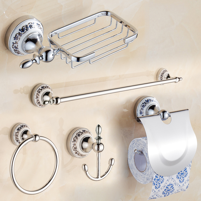 porcelain Stainless Steel CHROME Bathroom Accessories Set Soap