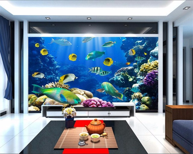 Custom photo 3d wallpaper Fish coral aquarium at the bottom of sea ...
