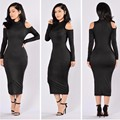 New 2016 Hot Autumn Women Long Sleeve Off Shoulder Bodycon Knitted Dress Sexy Blue Red Black Club Party Midi Knitting Dress