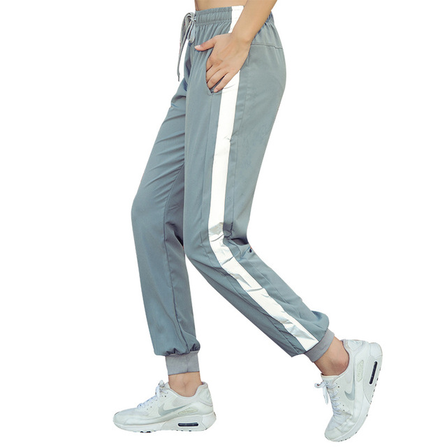 Women's Sports Pants Loose Fitness Running Reflective Strips Jogger Pants 2018 Autumn New Sportswear 4