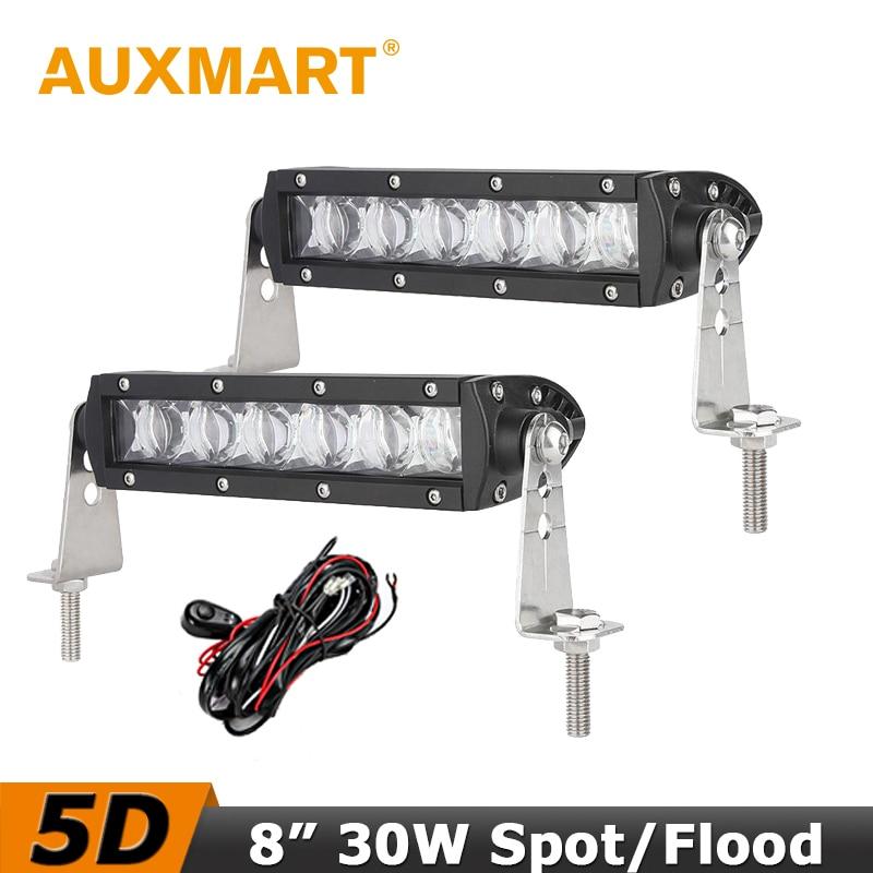 Auxmart 5D LED Light Bar 8 inch 30W Flood Spot Beam LED Work Light fog Lamp Offroad Driving ATVs SUV Truck Engineering auxmart 20 inch 6d 3 row led light bar