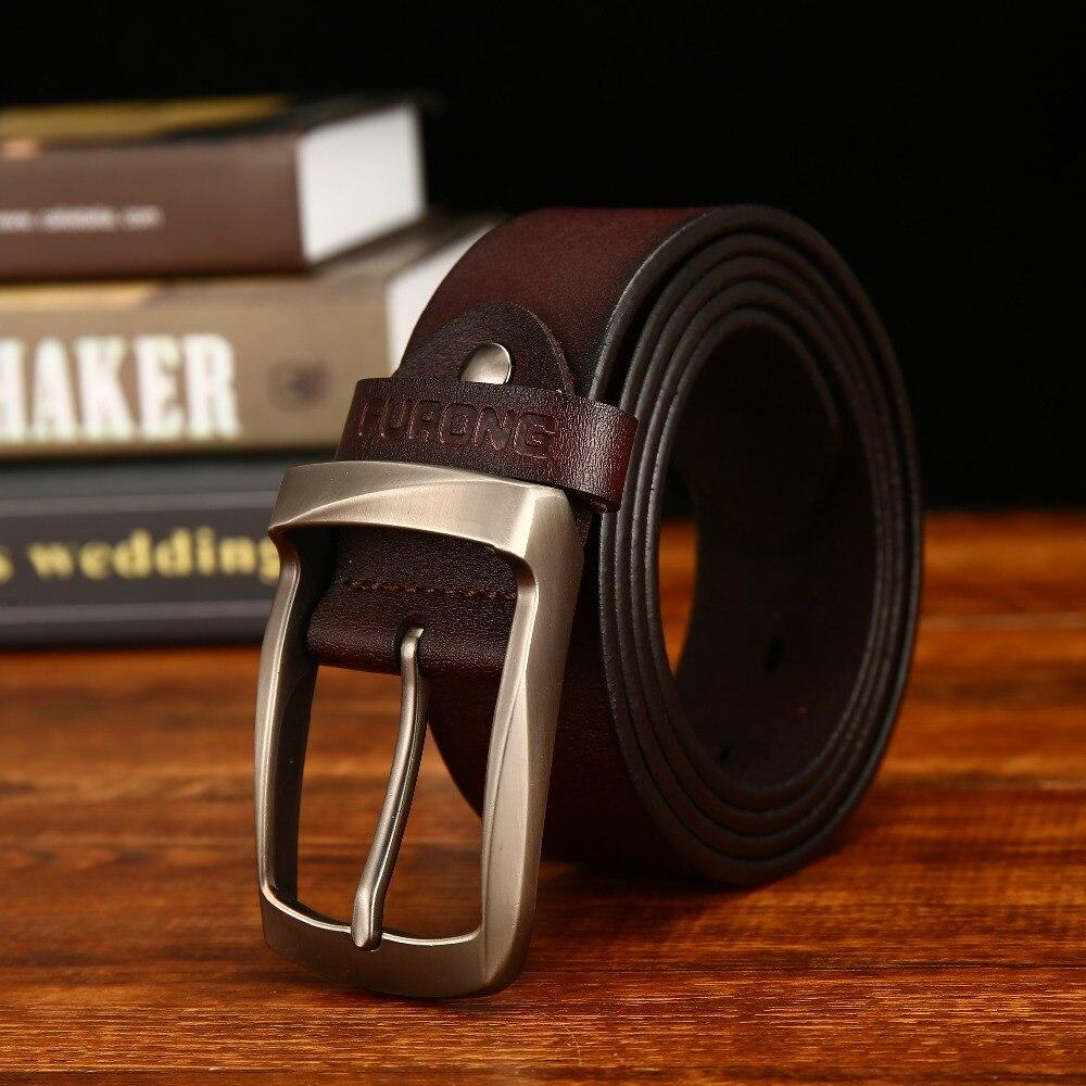 Fashion Made Genuine Leather Belt Man Vintage Pin Buckle Hot Sale 100-135 Full-grain Leather Designer Men Belt Original Brand