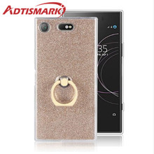 Adtismark For SONY Xperia XZ Premium XZ1 Compact Case Soft TPU Cover Clear Rings Bling Glitter For SONY Xperia XZ1 Compact Case for fundas sony xperia l2 case cover soft liquid glitter silicone tpu phone case for coque sony xperia l2 l 2 case cover