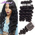7A Malaysian Loose Wave 4 Bundles With Closure Ali Moda Malaysian Loose Wave Malaysian Virgin Hair With Closure 5pcs Loose Curl