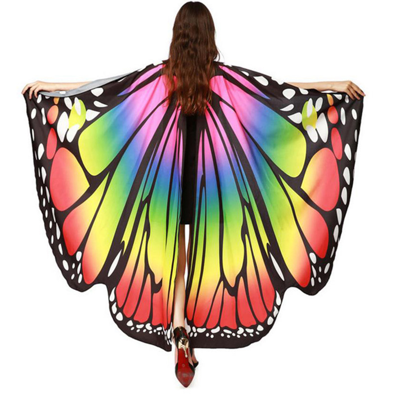 2019 HOT Women Butterfly Wings Beach Costume Cloak Shawl Pashmina Shawl Scarf Nymph Poncho Costume Accessory Holidays Costumes