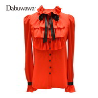 Dabuwawa Women Long Sleeve Blouses Office Ladies Tops Blusas Ruffle Shirts White Ruffle Blouse Bow Basic