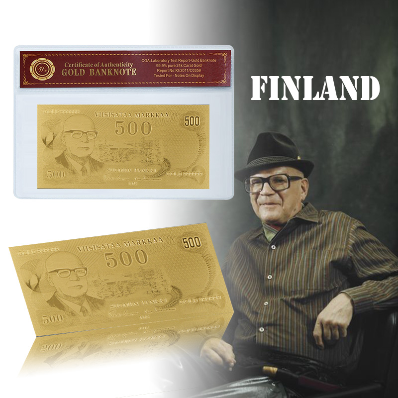 Billete de banco WR Finland 500 Gold Gold Plated Bill con buen regalo de Coa para la colección Business Friend para año nuevo