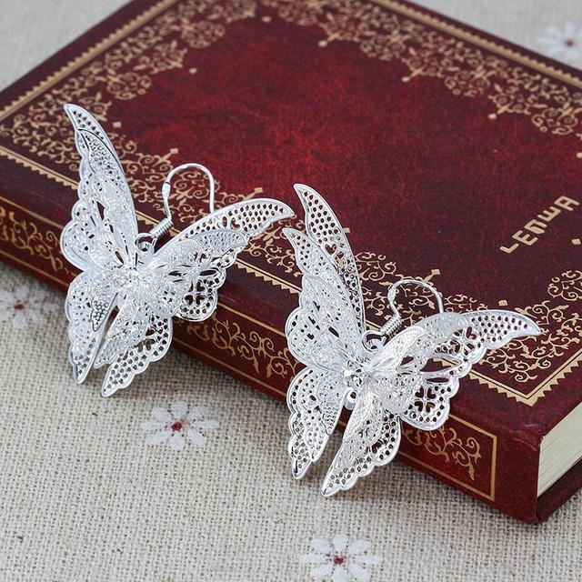 Fashion Jewelry Metal Hollow Animal Butterfly Earrings Romantic AAA Cubic Zirconia Earrings For Women Jewelry for Girls