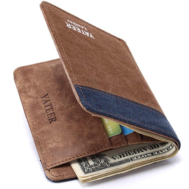 ออกแบบหรูหราผ้าใบยี่ห้อแบรนด์เนมกระเป๋าสตางค์ของแข็งแฟชั่นสองสีYATEERกระเป๋าสตางค์ชายบางพิเศษคุณภาพp ursesกระเป๋าเงิน