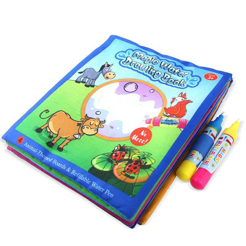 Baby Soft Cloth Magic Water Drawing Book Pen Doodle Mat Animal Coloring Book Early Educational Painting Board