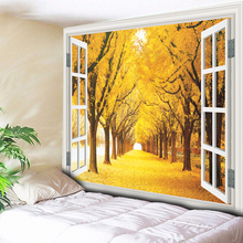 Autumn Trees Boulevard Psychedelic tapestry Nature Tree Home Deaor Wall Hanging Living Room Bedroom Bedside Blanket 200x150