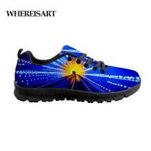 Купить с кэшбэком WHEREISART Causal Flats Men Shoes Blue Colorful Light Shoes Young Male Breathable Sneakers Masculino Adulto Zapatos De Hombre
