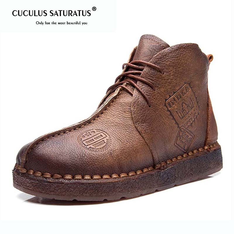 Cuculus Autumn Winter Women Shoes Women Retro Boots Handmade Ankle Boots Flat Boots Genuine Leather Shoes