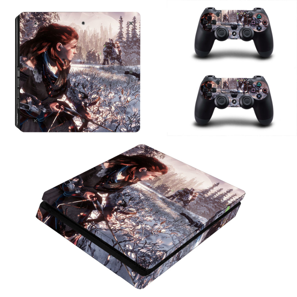 Game Horizon Zero Dawn Decal PS4 Slim Skin Sticker For Sony PlayStation 4 Console and 2 Controllers PS4 Slim Skin Sticker