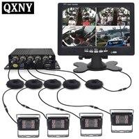 QXNY DC12V 24V 7 ЖК дисплей 4CH видео вход автомобиля мониторы для спереди и сзади сбоку камера Quad разделение экран 13 Режим дисплей SD MDVR