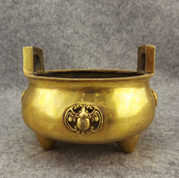 B0601 417Old antique Bronze Arts & Crafts Incense burner copper incense burner buddha with threelegged antique incense statue