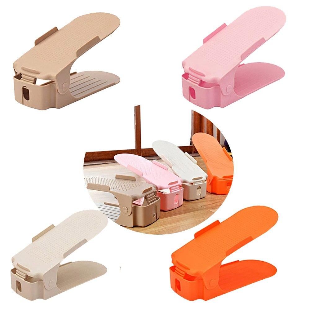 Solide couleur quatrième vitesse réglable étagère à chaussures articles ménagers Double chaussures rack Creative Plastique Chaussures Rack Organisateur