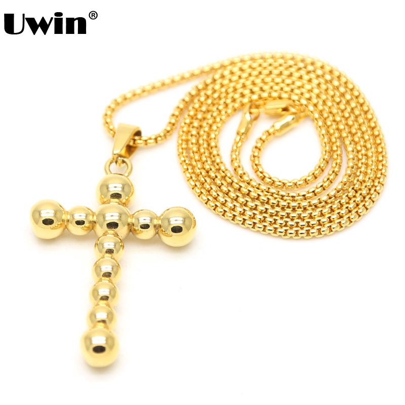 Gold Color Beads Cross Necklace With Popcorn Chain Hiphop Stainless Steel Cross Pendant Necklace Lovers Accessory Jewerly