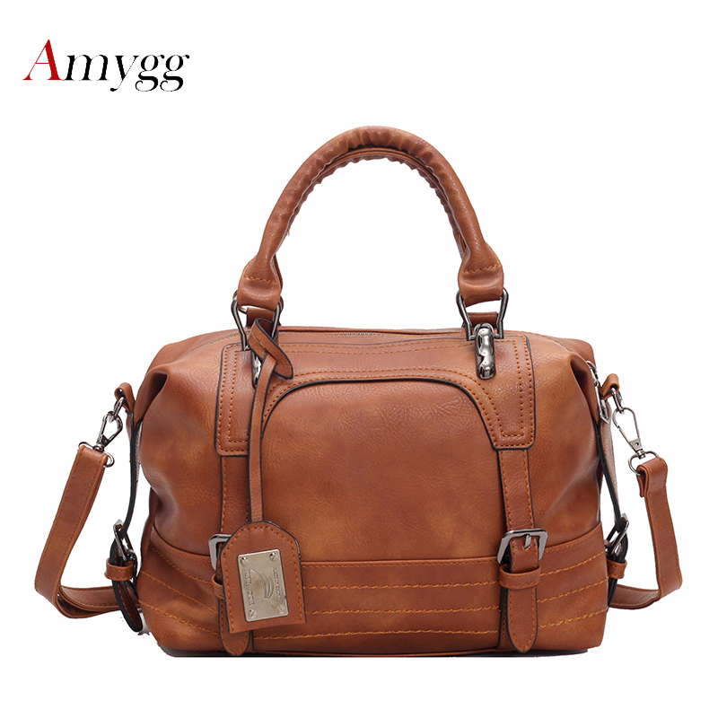 Luxury Women Leather Handbag Brown Retro Vintage Bag Designer Handbags High Quality Famous Brand Tote Shoulder Ladies Hand Bag цена