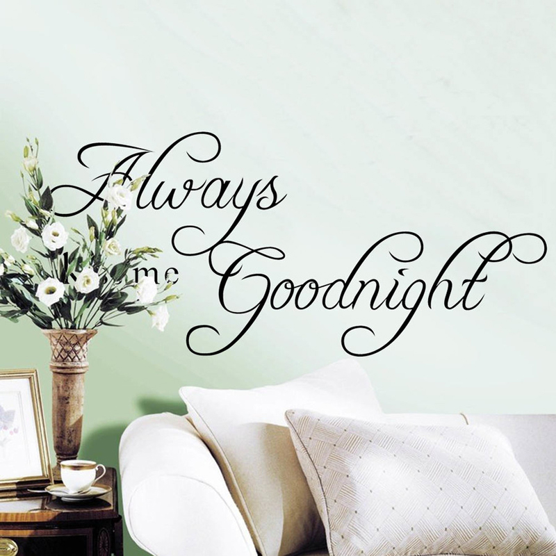 letter print 3d vinyl wall decals removable mirror wall stickers for kids room decoration always kiss