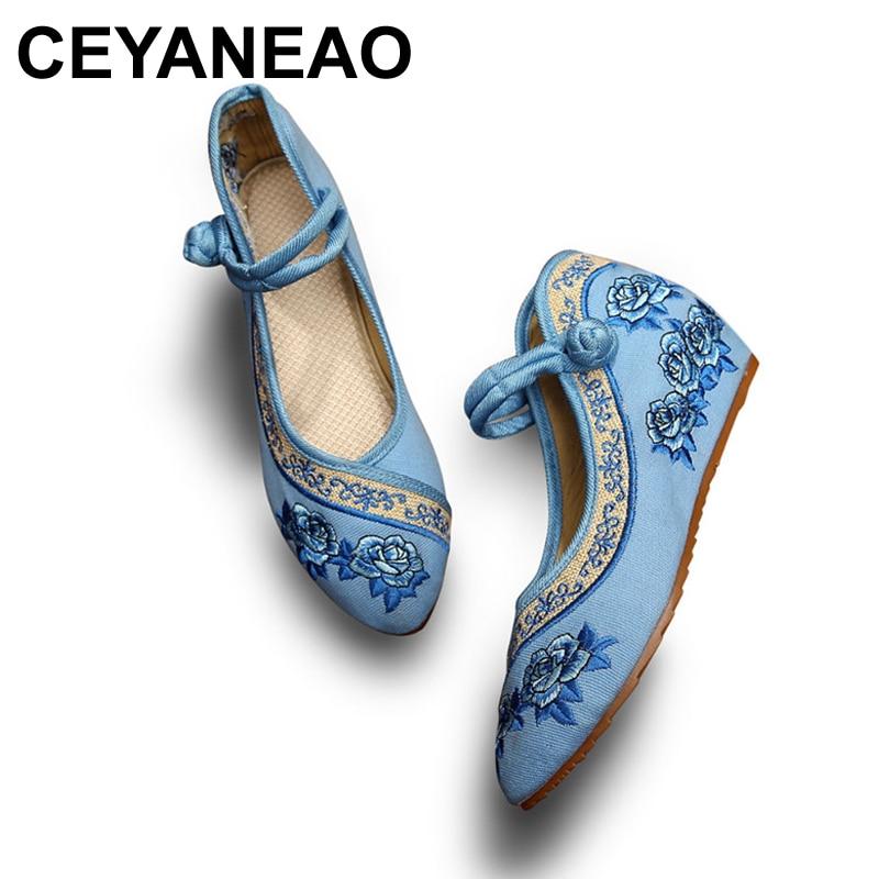 CEYANEAOHandmade Women Vintage Wedges Old Peking Shoes Pointed Toe Platforms Ladies Flower Embroidered Pumps SapatofemininoE1426