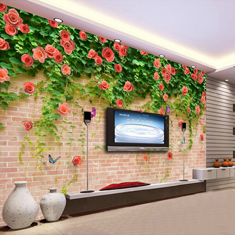 Customized 3D Mural Wallpaper Modern Romantic Rose Butterfly Photo Wall Papers Bedding Room Living Room Sofa
