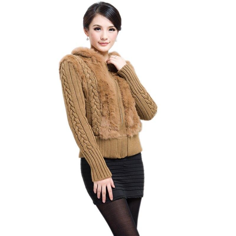 Echtes Geschert Kaninchen Pelz Jacke mit kapuze gestrickte mäntel pullover OEM Kostenloser versand-in Basic Jacken aus Damenbekleidung bei  Gruppe 1