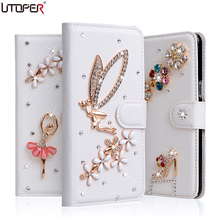 For iPhone4 4s Wallet PU Leather Diamond Bowknot Case For Apple iPhone 4 4s 4G Stand Flip Handmade Cover Rhinestone Phone Bags