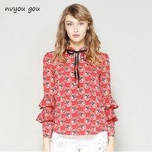 1070a7a7a5 Nvyou gou Primavera Verão Elegante Manga Comprida Ruffle Camada Chiffon  Camisa Blusa Mulheres Floral Vintage Imprimir Moda Grava.