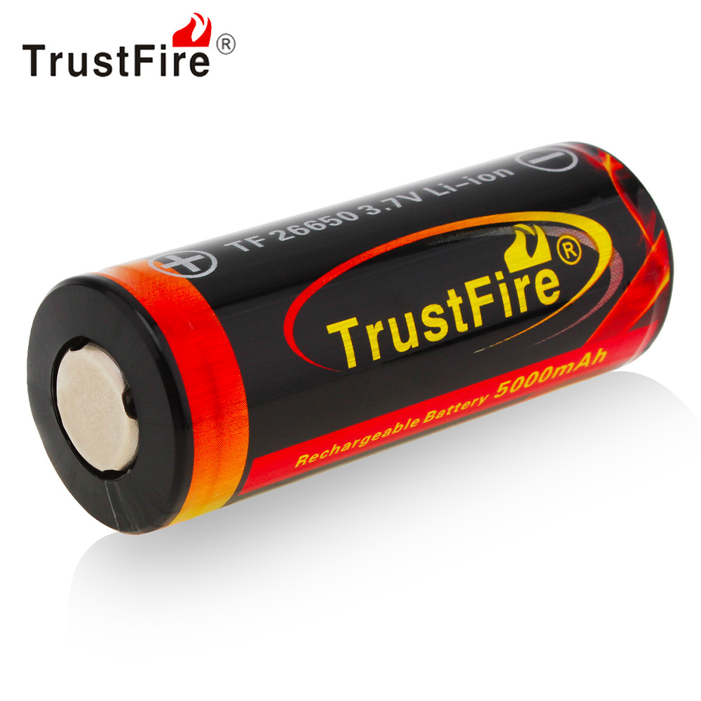 TrustFire 3.7V 26650 Battery High Capacity 5000mAh Li-ion Rechargeable Battery with Protected PCB for LED Flashlight Headlamp