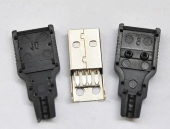 10Pcs/lot A Public Wire-type Three-piece Plastic Shell Male USB A-type Male Connector Housing With Plastic Wire 4P4