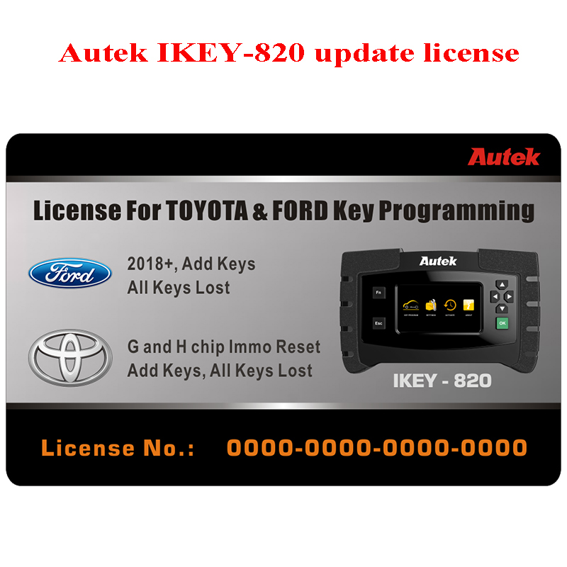Autek IKEY820 Automotive Car Key Programmer for Locksmith Programming Immobilizer OBD2 Tool With 2018+ for Ford Toyota license