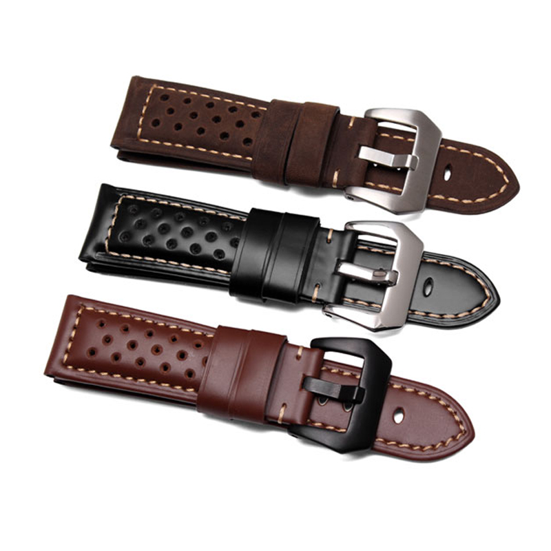 22 24 26mm Black Brown Real Leather Handmade Thick VINTAGE Wrist Watch Band Band Strap Belt Brushed Buckle For Luminor