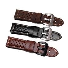 140d8d308c58 22 24 26mm negro marrón de cuero Real grueso hecho a mano VINTAGE muñeca  banda de reloj de correa de cinturón de hebilla para lu.