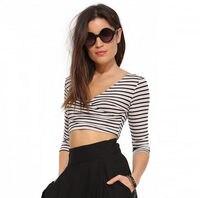 2015 Summer Women Cropped Tops High Street White Black Striped Deep V Neck Three Quarter Sleeve